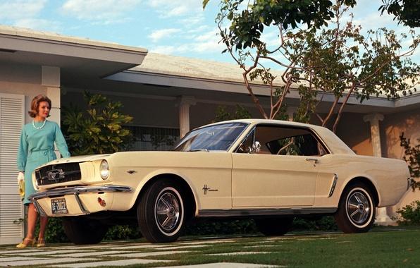 Картинка купе, Mustang, Ford, мустанг, кремовый, мускул кар, форд, woman, Coupe, американская мечта, женьшина, '1964, класика, …
