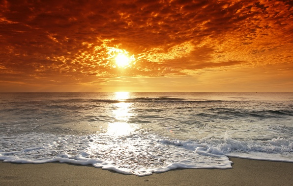 Картинка море, волны, пляж, небо, вода, солнце, облака, пейзаж, закат, природа, океан, берег, горизонт, прилив