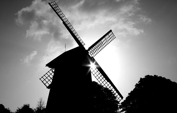 Картинка черно-белая, мельница, 157