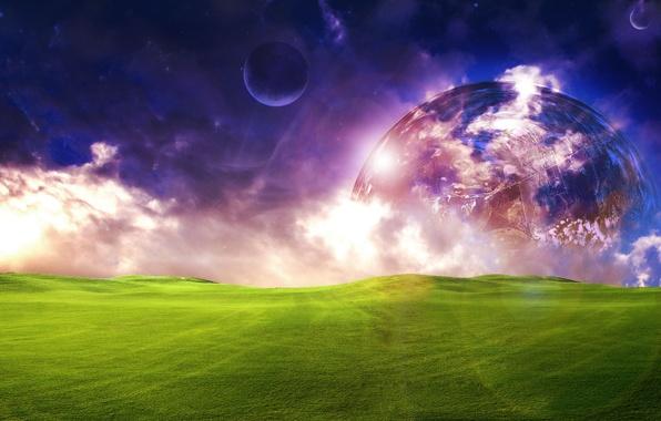 Картинка поле, небо, трава, космос, облака, свет, фантастика, луна, планета, луг, красиво, space, grass, sky, field, …