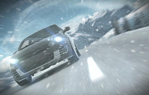 Картинка дорога, машина, снег, разметка, ветер