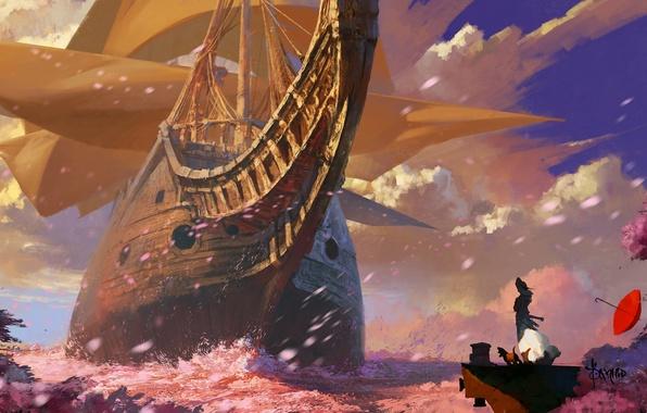 Картинка море, небо, девушка, облака, фантазия, корабль, собака, зонт, лепестки, сакура, парус, Sea Of Sakura