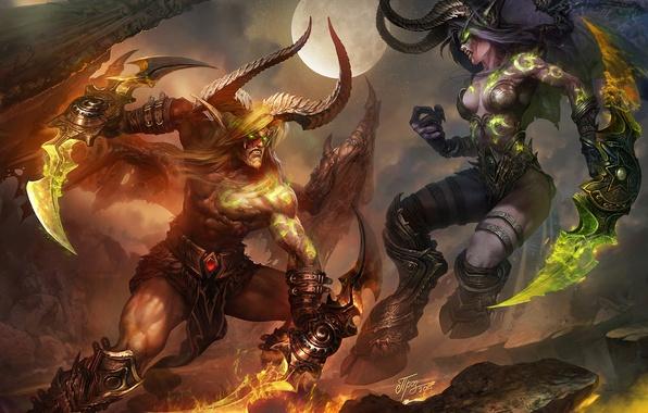 Картинка ночь, эльф, бой, демон, схватка, warcraft, охотник, wow, world of warcraft