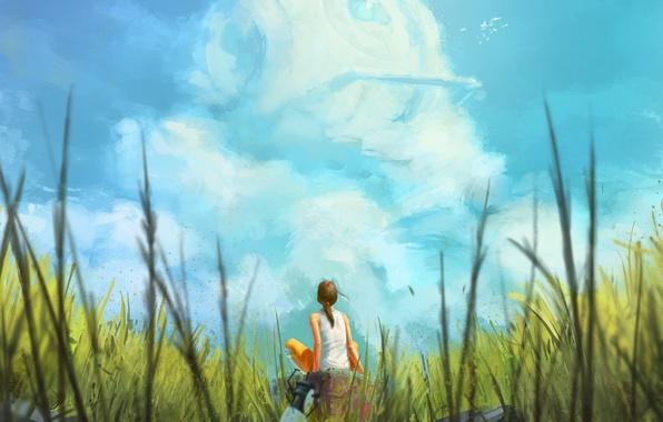 Картинка лето, небо, трава, девушка, облака, арт, сидя