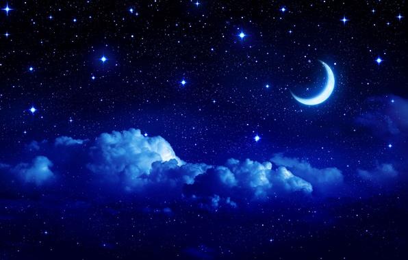 Картинка небо, звезды, облака, пейзаж, ночь, фон, widescreen, обои, луна, сказка, месяц, облако, wallpaper, sky, широкоформатные, …