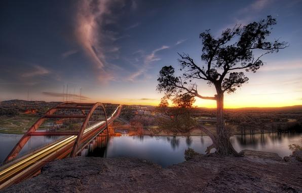 Картинка закат, мост, река, Sunset, Austin