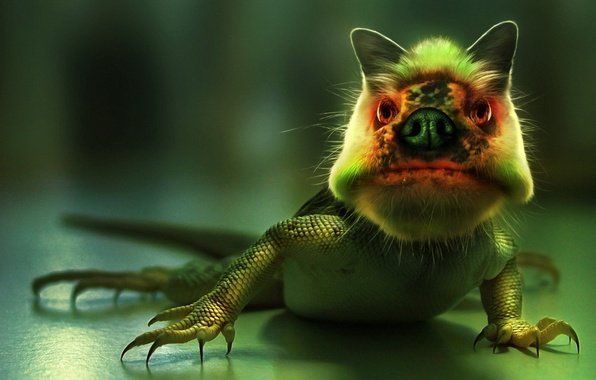 Картинка зеленый, монстр, ящер
