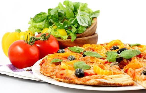 Картинка зелень, полотенце, сыр, лук, мясо, пицца, помидор, оливки, блюдо, салат, маслины, болгарский перец, cheese, meat, ...