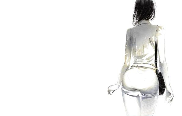 Картинка девушка, минимализм, арт, живопись, Sawasawa