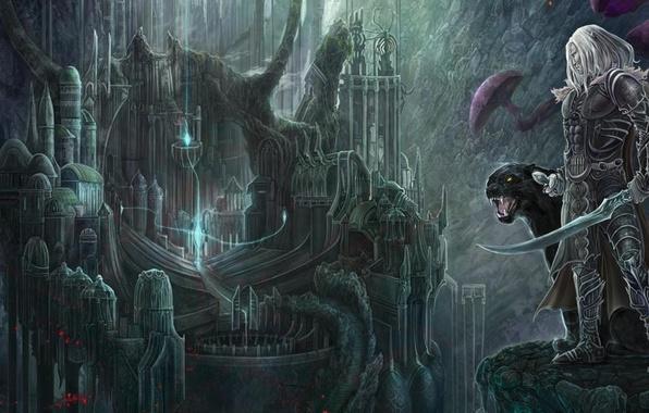 Картинка город, эльф, пантера, сабли, темный эльф, иллюстрация к книге, Роберт Сальваторе, Дриззт До'Урден, Drizzt, Robert …