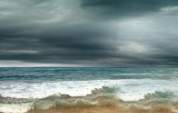 Фото обои песок, море, гроза, волны