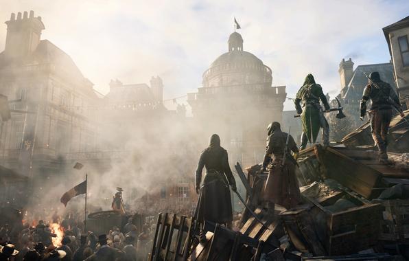 Картинка город, флаг, франция, ассасины, Assassin's Creed: Unity