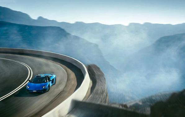 Картинка Roadster, Lamborghini, Blue, Landscape, Aventador, Supercar, LP 750-4, Superveloce