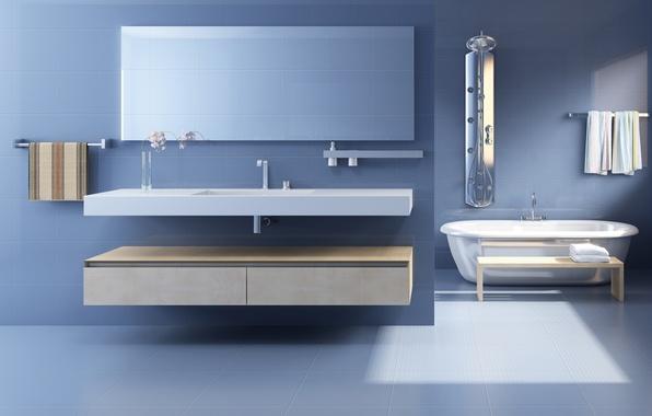 Картинка свет, уют, стиль, полотенце, утро, зеркало, души, комфорт, раковины, интерьеры, стили, умывальники, ванные, уборные комнаты, …
