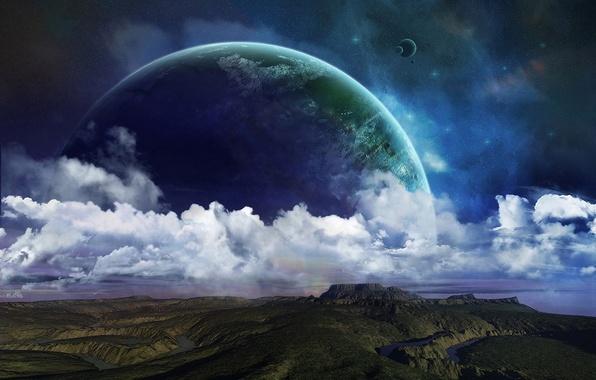 Картинка звезды, облака, поверхность, холмы, планета, спутники, реки, рельеф