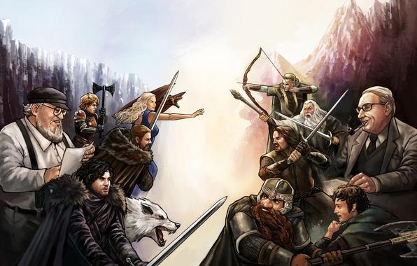 Картинка дракон, эльф, волк, маг, гном, art, Daenerys Targaryen, Aragorn, Gandalf, Gimli, Legolas, Jon Snow, Lord …