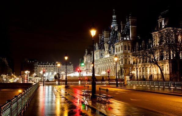 Картинка дорога, свет, ночь, мост, город, огни, улица, Франция, Париж, фонари, Paris, скамейки, France, лавочки, светофоры, …