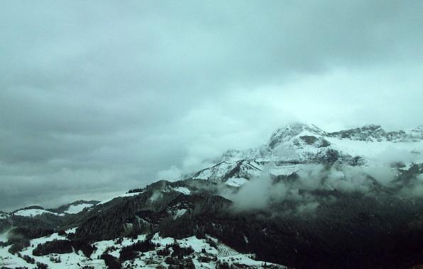 Картинка лес, небо, облака, снег, деревья, пейзаж, горы, природа, forest, sky, trees, landscape, nature, mountains, clouds, …