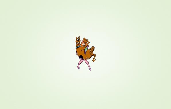 Картинка девушка, страх, собака, минимализм, юмор, держит, Скуби-Ду, Scooby-Doo, Daphne Anne Blake, Дафна