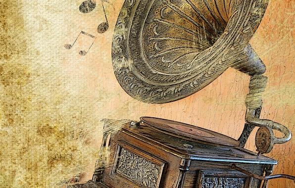 Картинка поле, металл, ретро, музыка, фон, старые, технологии, звук, Ноты, развлечений, динамик, золотой, диск, крышка, текстуры, …