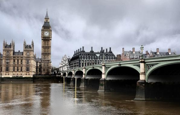Картинка мост, часы, лондон, темза