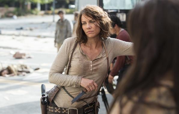 Картинка задумчивость, нож, Maggie, The Walking Dead, Ходячие мертвецы, Lauren Cohan