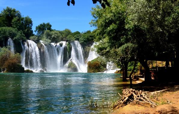 Картинка деревья, река, водопад, Босния и Герцеговина, Kravice