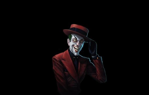 Картинка красный, улыбка, batman, бэтмен, шляпа, Джокер, костюм, комикс, Joker, бешеный, интеллигент