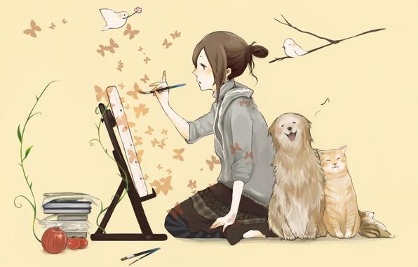 Картинка кошка, бабочки, птицы, книги, собака, девочка, кисть, рисует, мольберт