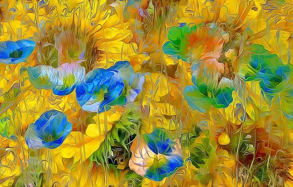 Картинка поле, цветы, природа, рендеринг, лепестки, луг