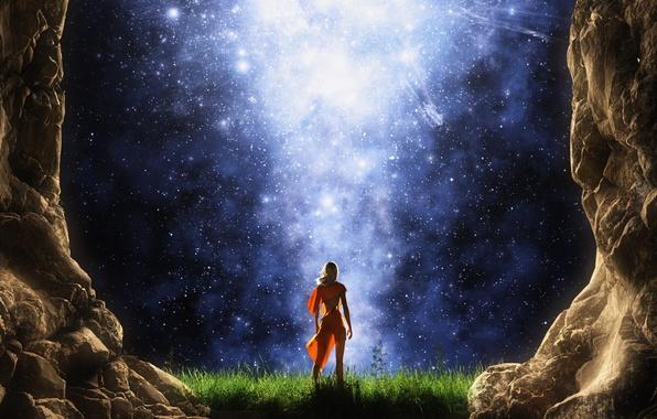 Картинка небо, девушка, звезды, ночь, скалы, ступени, спиной, рендер