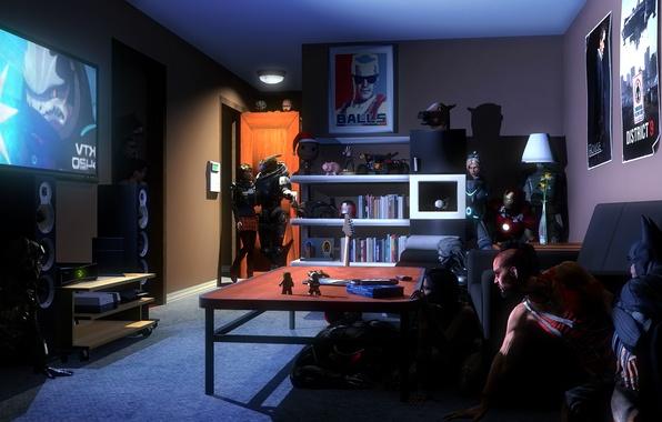 Картинка комната, batman, starcraft, Far Cry, свидание, mass effect, crysis, crossover, raiden, iron man, fan art, …