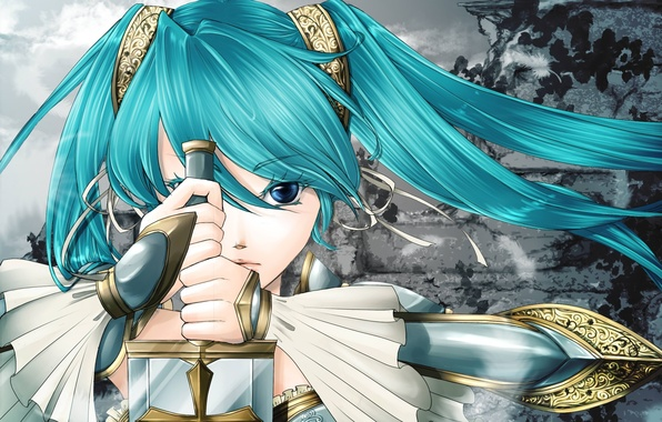 Картинка девушка, лицо, оружие, узор, крест, меч, перья, руки, vocaloid, hatsune miku, вокалоид, клинок, хвостики, чеканка