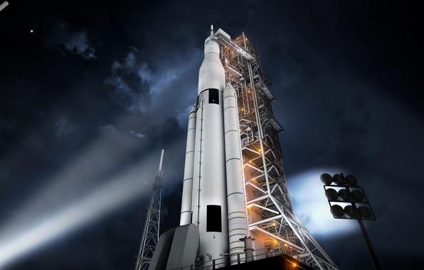 Картинка ракета, NASA, старт, космодром