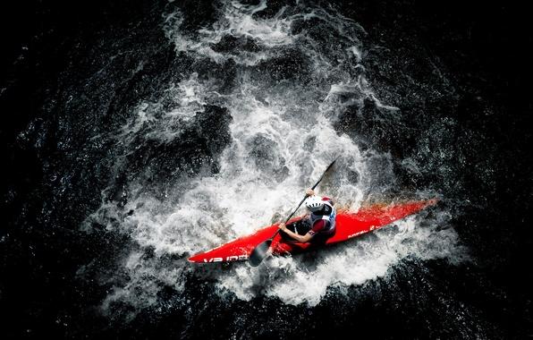 Картинка вода, река, спорт, лодка, человек, гребёт