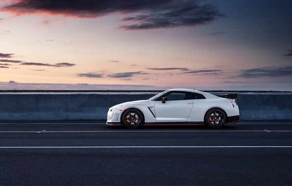Картинка Nissan, GT-R, Car, White, Side, R35, Sport, Road, Nismo, Wheels