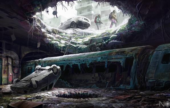 Фото обои оружие, холод, арт, дыра, зима, лед, люди, подземка, sci-fi