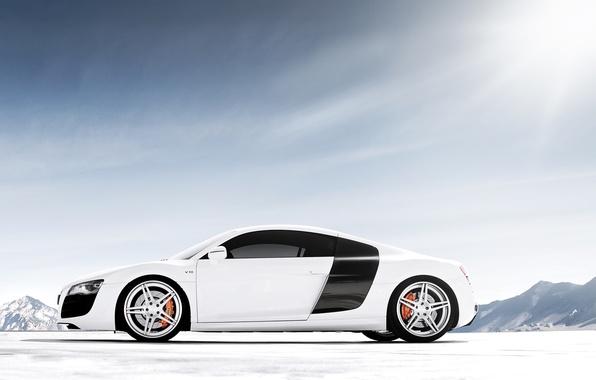 Картинка белый, небо, горы, Audi, ауди, тюнинг, суперкар, диски, вид сбоку, tuning, V10, в10