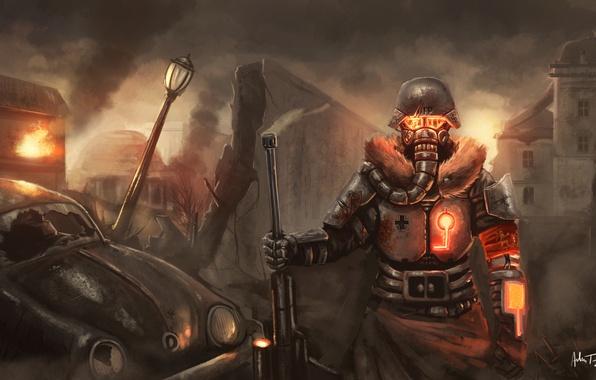 Картинка машина, обломки, металл, город, оружие, огонь, кровь, забор, маска, арт, солдат, фонарь, повязка, руины, fallout, …
