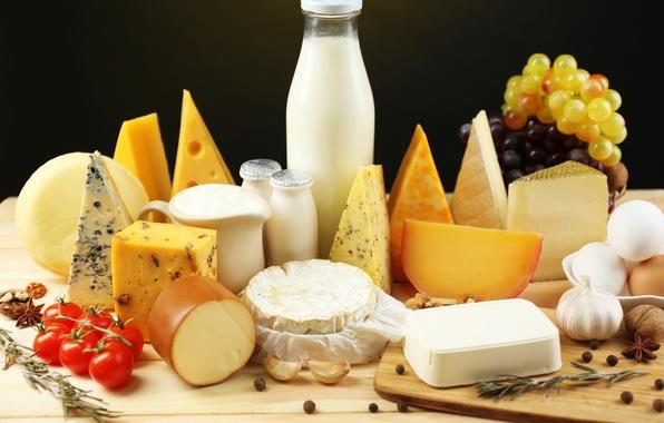 Картинка яйца, сыр, молоко, виноград, перец, орехи, помидоры