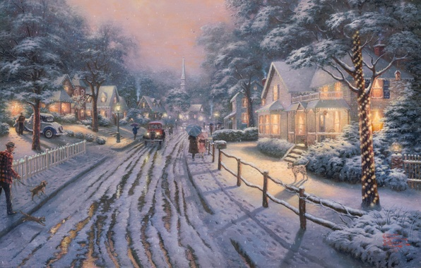 Картинка зима, дорога, снег, машины, lights, огни, люди, собака, картина, Рождество, домики, зонты, городок, живопись, Christmas, ...