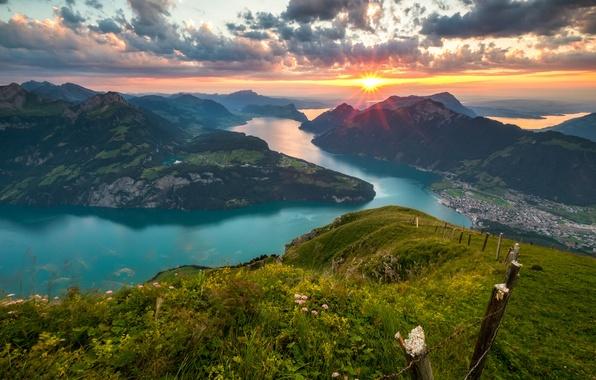 Картинка закат, горы, озеро, Швейцария, Альпы, панорама, Switzerland, Alps, Lake Lucerne, Люцернское озеро, Фирвальдштетское озеро