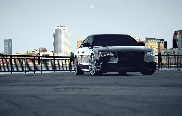 Картинка car, city, audi, black, cars, auto, wallpapers auto, обои авто, Photography, audi a8