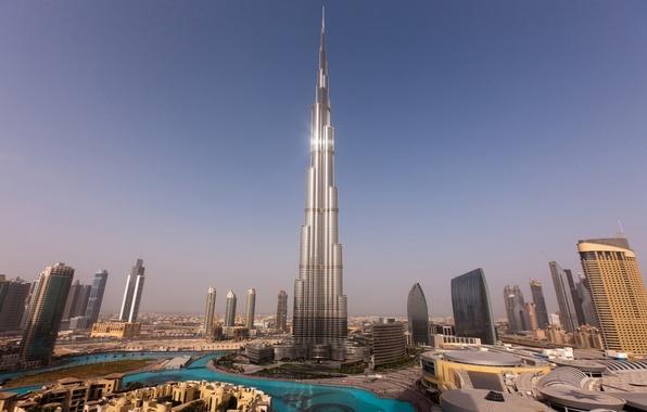 Картинка небо, вода, закат, дома, небоскребы, башни, Dubai, дубай, Бурдж-Халифа