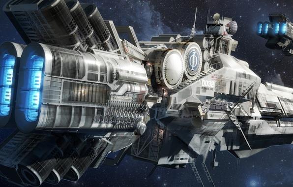 Картинка космос, фантастика, корабль, звёзды, space, sky, stars, spaceship, крейсер, sci-fi, Ender's Game, Enders Game, Игра …