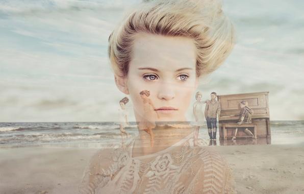 Картинка воспоминания, портрет, девочка, пианино, Vintage Beach