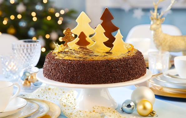 Картинка украшения, ленты, стол, праздник, елка, рождество, торт, Happy New Year, Christmas, cake, десерт, Merry Christmas, …