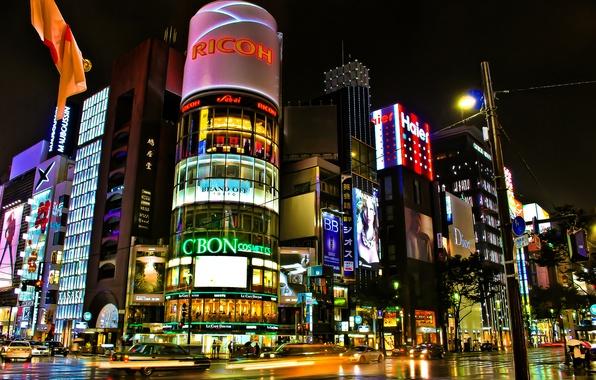 Картинка дорога, ночь, город, огни, улица, здания, выдержка, Япония, Токио, перекресток, Tokyo, Japan, магазины