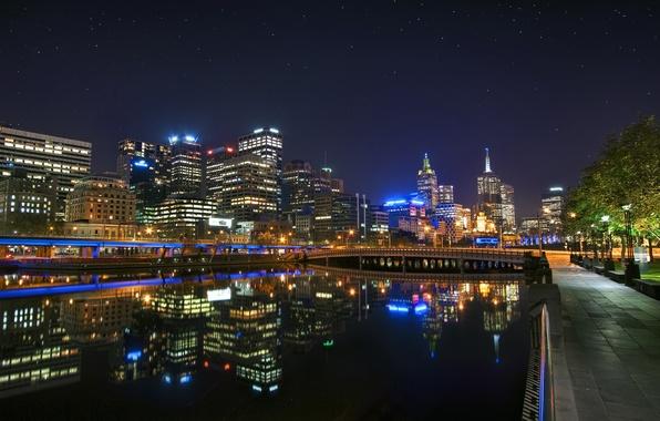 Картинка ночь, Австралия, night, Melbourne, Downtown, Australia, Мельбурн