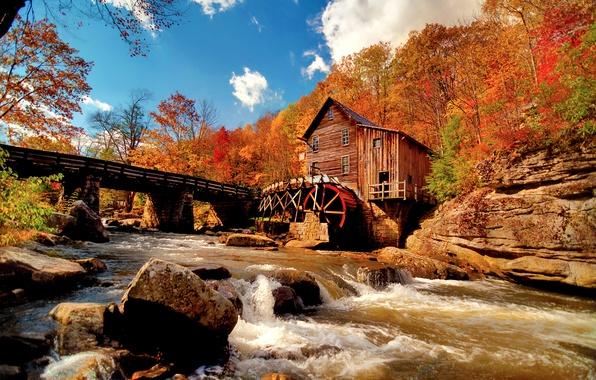 Картинка осень, небо, облака, природа, река, камни, поток, водяная мельница, краски осени